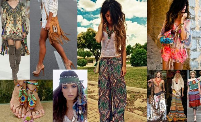 coachella outfits ideen zum entnehmen frau mit schönen bunten sandalen kopftuch frisur tasche mode