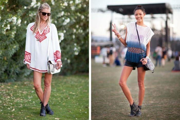 hippie festival outfits weiße farbe mit rot oder blau dekorieren stiefel tasche brille lächeln ideen