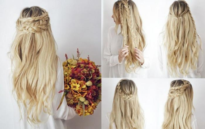 großer blumenstrauß, lange, lockige, blonde haare, flechtfrisur
