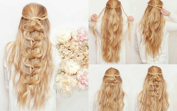 weiße bluse, lange blonde haare, frisur mit großem zopf