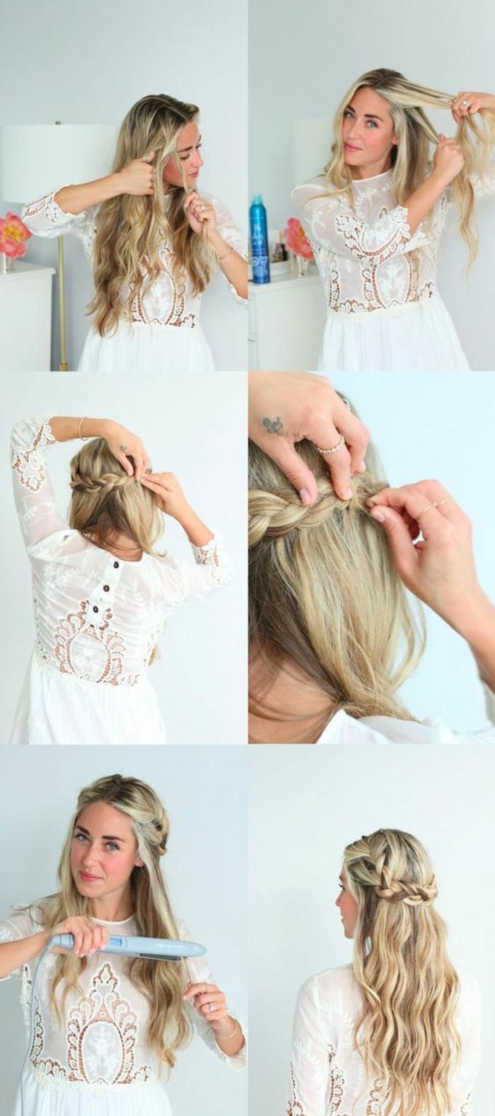 weißes kleid mit spitze, lange, lockige, blonde haare, flechtfrisur