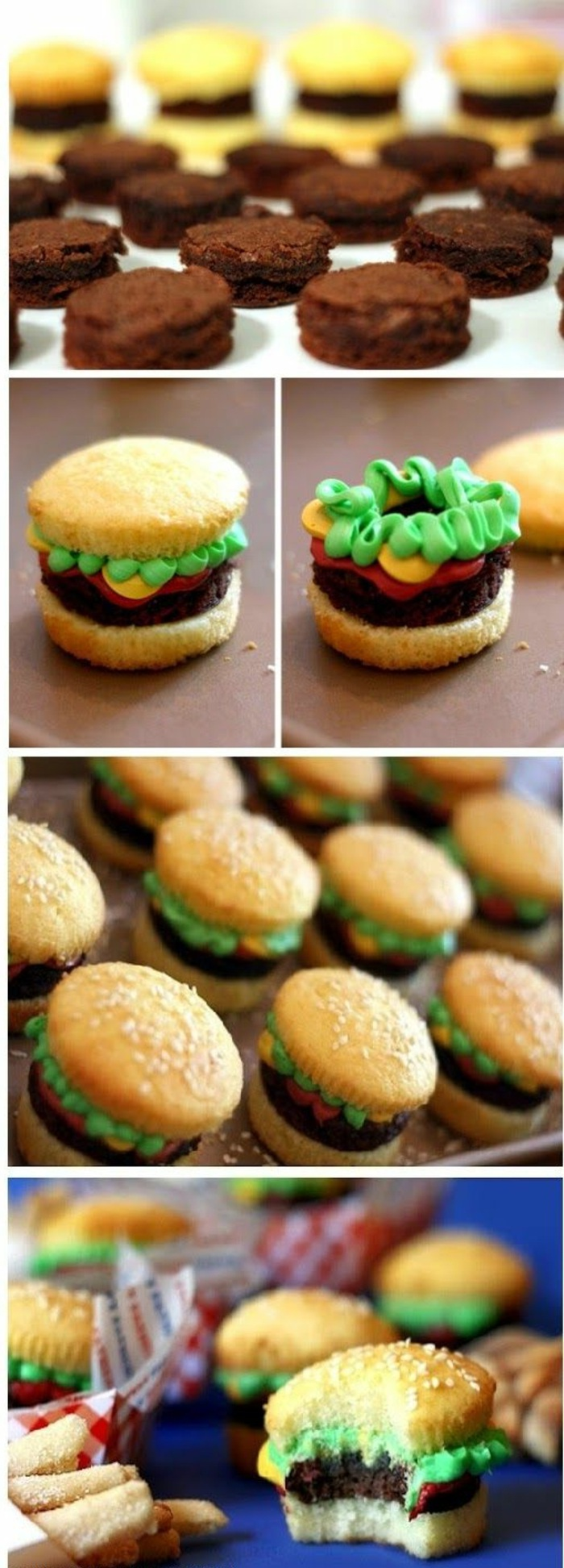 cupcakes mit sahne dekorieren wie kleine burgers