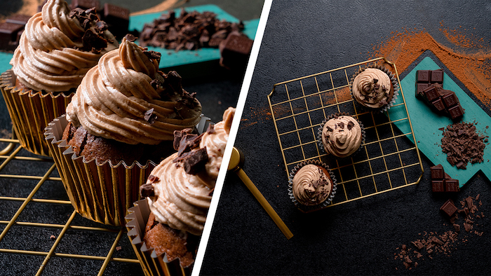 Cupcakes dekorieren mit Erdnusscreme und kleinen Schokoladenstückchen