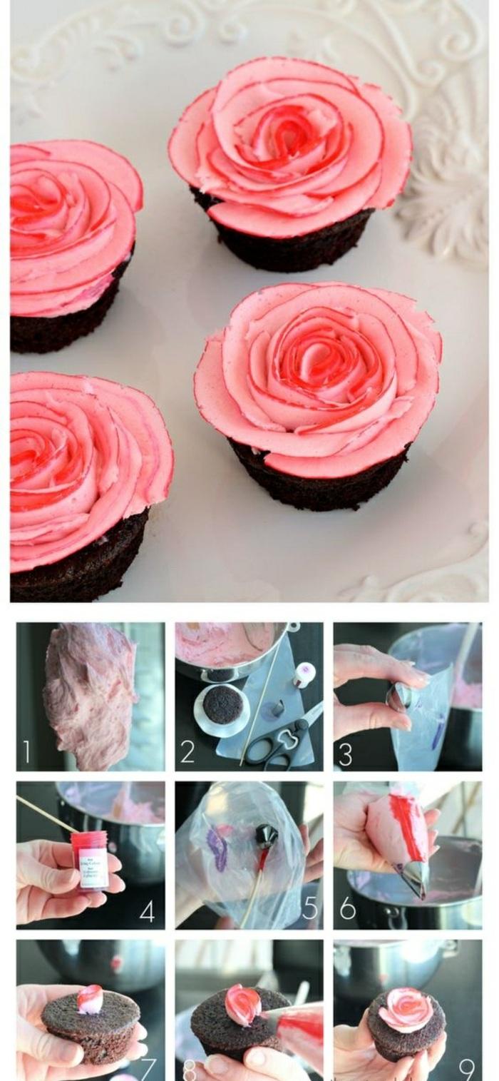 schoko-cupcake dekorieren - rosen aus sahne machen