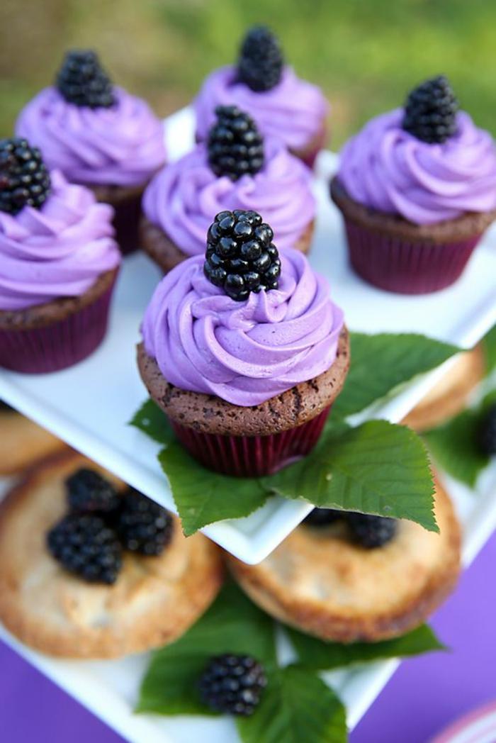 schoko-cupcakes mit lila sahne und blaubeeren verschönen