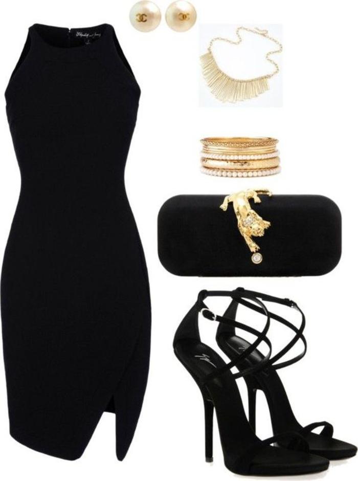 das kleine schwarze, kombination mit goldenem schmuck, schwarze pumps, chanel