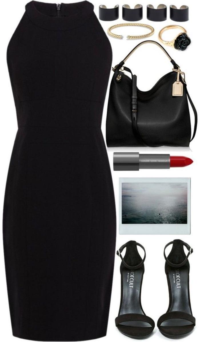 das kleine schwarze, kombination mit schwarzen pumps,ledertasche, schmuck