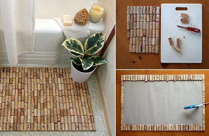 Badematte aus alten Korken, DIY Anleitung, Upcycling Ideen zum Selbermachen, Dekoration eines Badezimmers