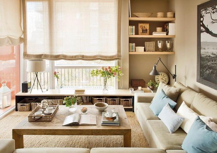 wohnung dekorieren, deko ideen, sofa, großer tisch, vorhänge selber nähen