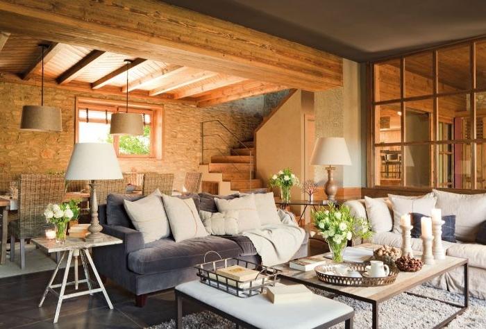 dekorationsideen im landhausstil, ein haus aus natürlichen materialien gemacht, holz, beton, braune wände, graue einrichtung und deko in weiß