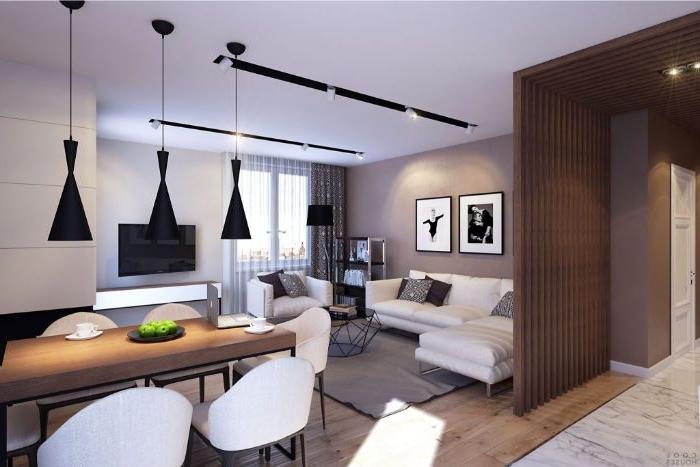 dekorationsideen in einer wohnküche großer raum mit vielen verwendungsmöglichkeiten, lampen hängen vom dach