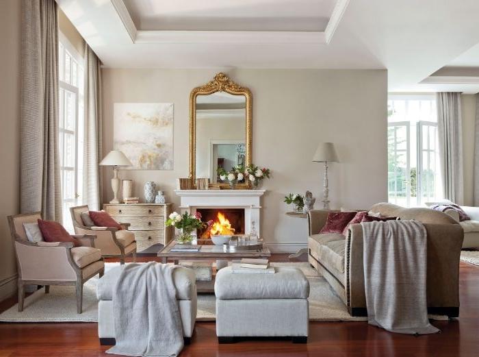 dekorationsideen in einer eleganten wohnung, spiegel an der wand deko ideen, wanddeko