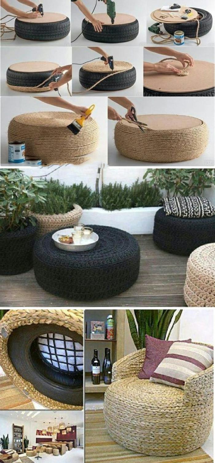 DIY Anleitung von einem Sessel aus einem alten Reifen, umwickelt mit Seile, Upcycling Ideen zum Selbermachen
