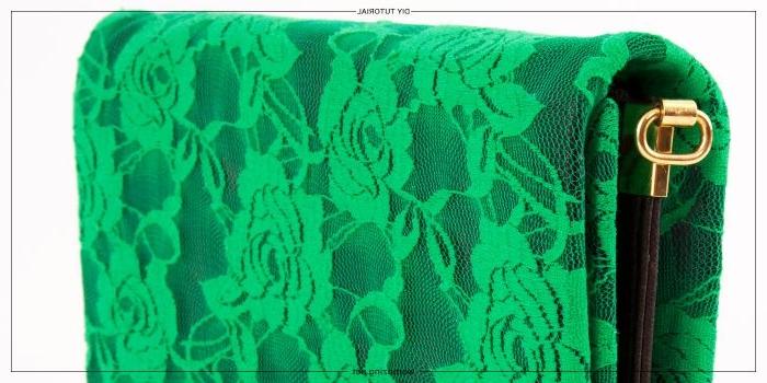 aus alt mach neu, grüne kleine tasche, spitze deko auf der tasche ideen