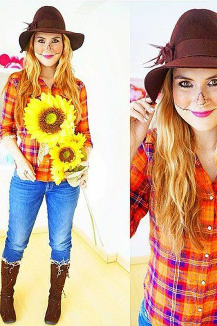 Dieses Mädchen ist wie Strohmann verkleidet - DIY Kostüm