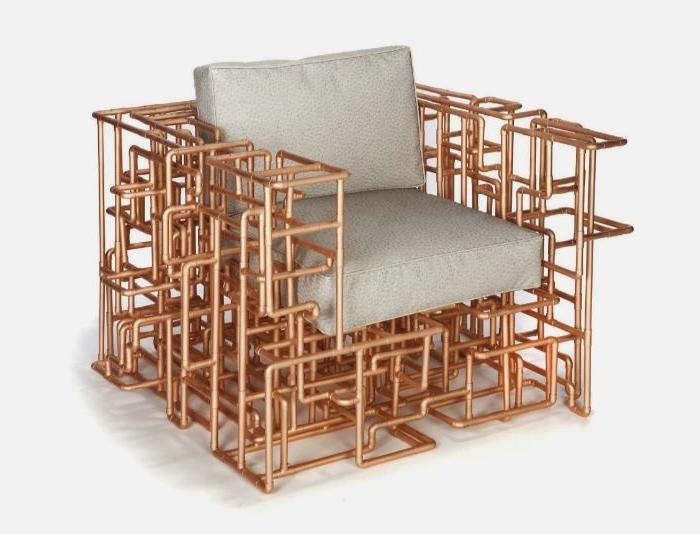 idee kreativ, sessel aus massiv metall, röhre sessel grauer stoff, deko möbel