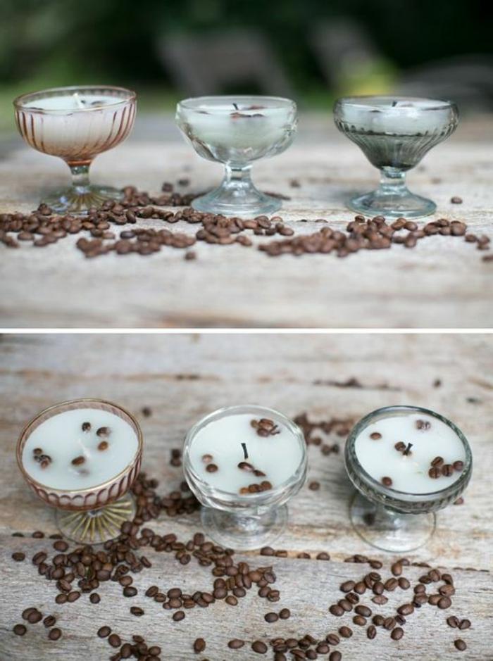 kerzen selber machen - kleine, weiße, runde kerze mit kaffeebohnen