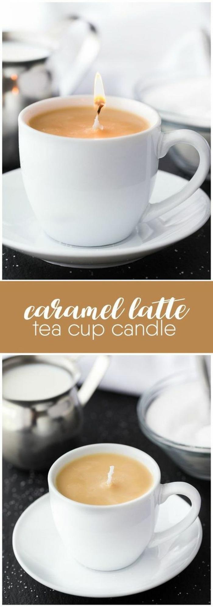 weiße teetasse-kerzenhalter, diy duftkerze, karamell