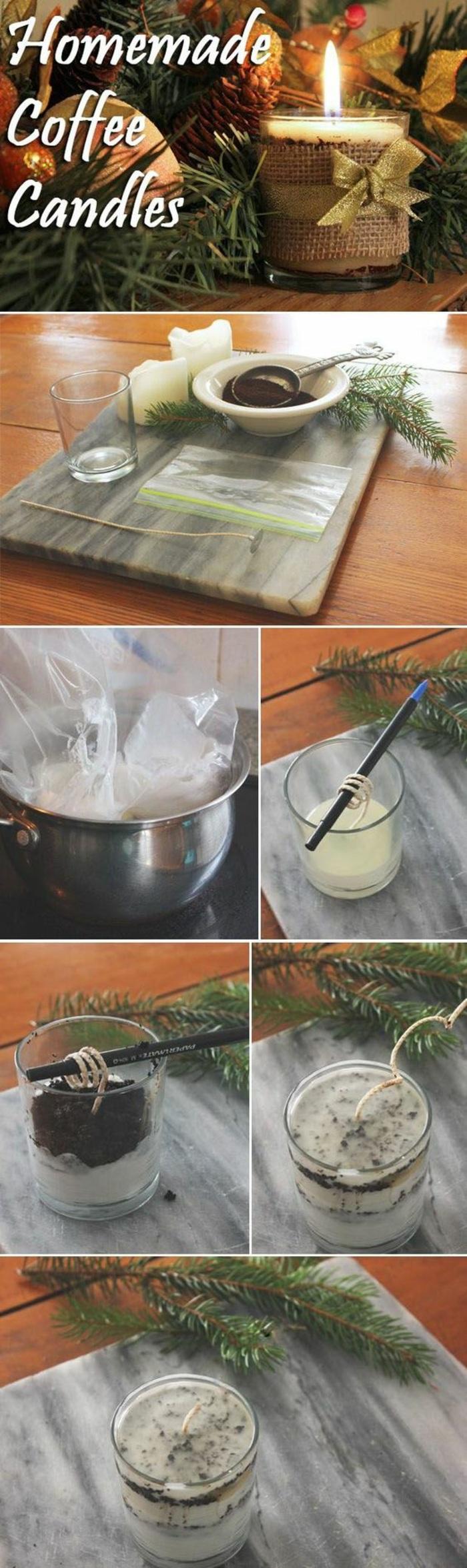 duftkerze selber machen, topf, grüne zweige, kerzenreste