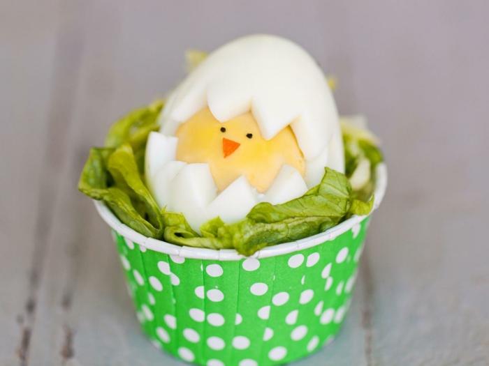 lustige Ostereier mit einem Küken in dem Salat, grüne Schale mit Punkten