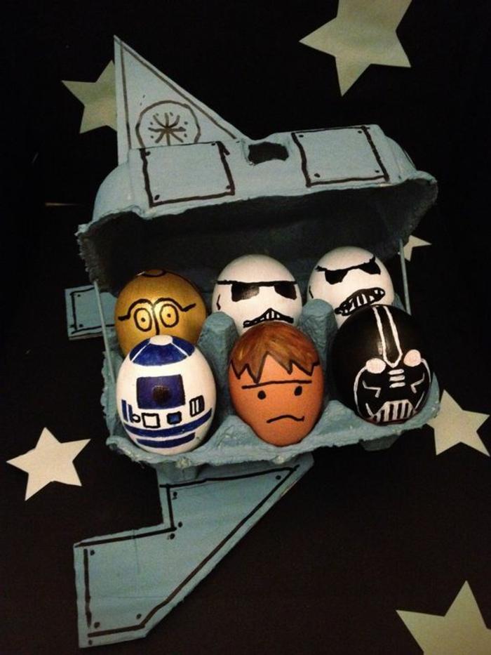 Ostereier Bilder - die Helden aus Star Wars die guten und bösen in einem Eikarton