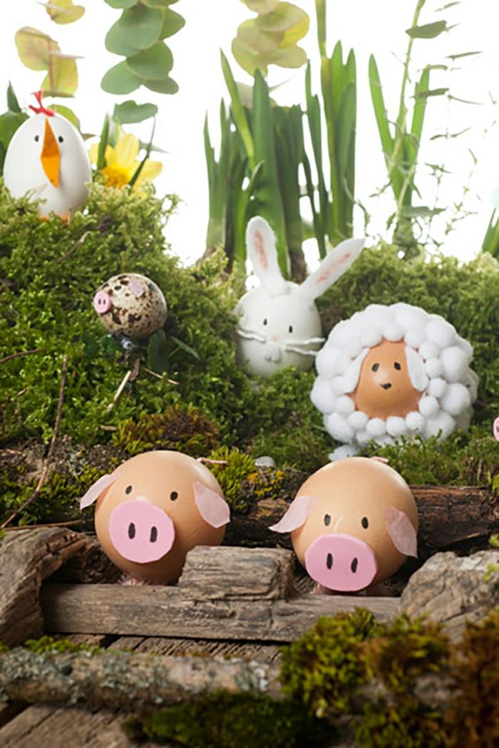 Ostereier Bilder - Figuren von Tiere aus dem Bauernhof mit viel Grün umgeben