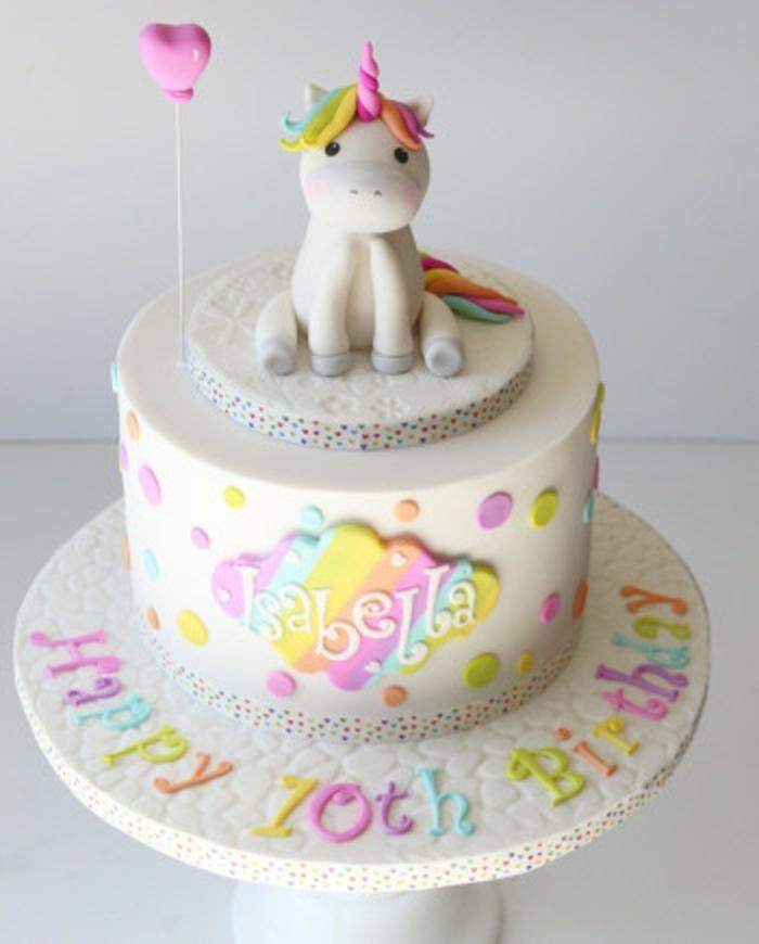 eine schöne einhorn torte mit einem kleinen weißen einhorn