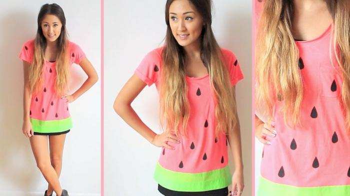 Wassermelone Kostüm zum selber machen aus einem langen T-shirt