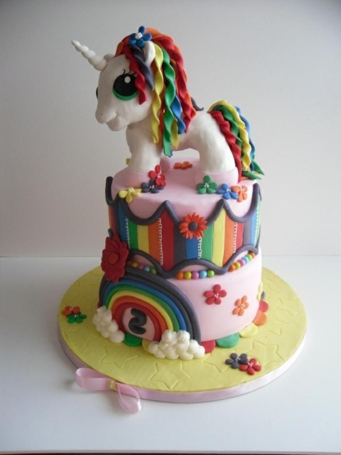 einhorn kuchen - hier ist eine märchenhafte einhorn torte mit einem einhorn mit einer regenbogenfarbenen mähne