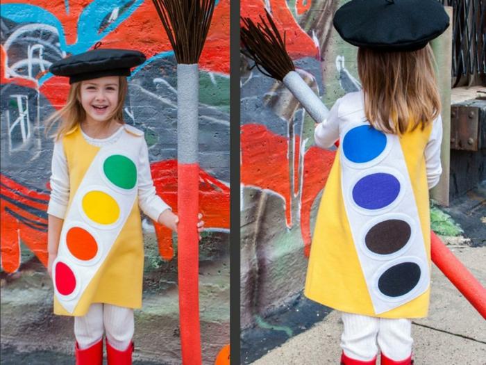 dieses Mädchen ist wie Maler Zubehör verkleidet- DIY Faschingskostüm