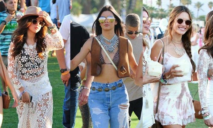 coachella festival outfit ideen schöne frauen in tolle outfits jeans und kurze weste hut brille spitze