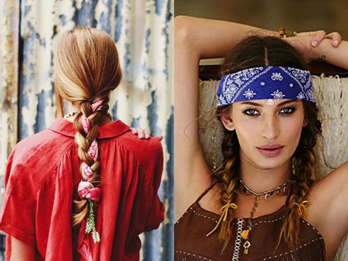 hippie stil für frauen accessoires frisur halstuch für den kopf nutzen frisur mit echten blumen make up
