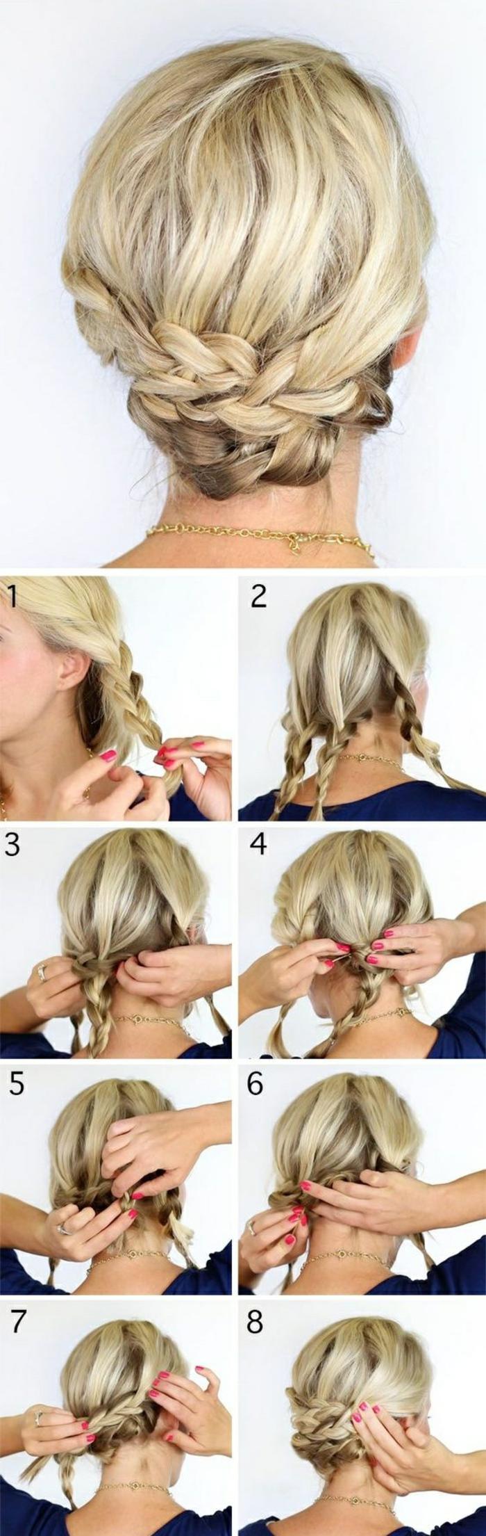 einfache frisuren - blonde haare, zöpfe, hochsteckfrisur selber machen