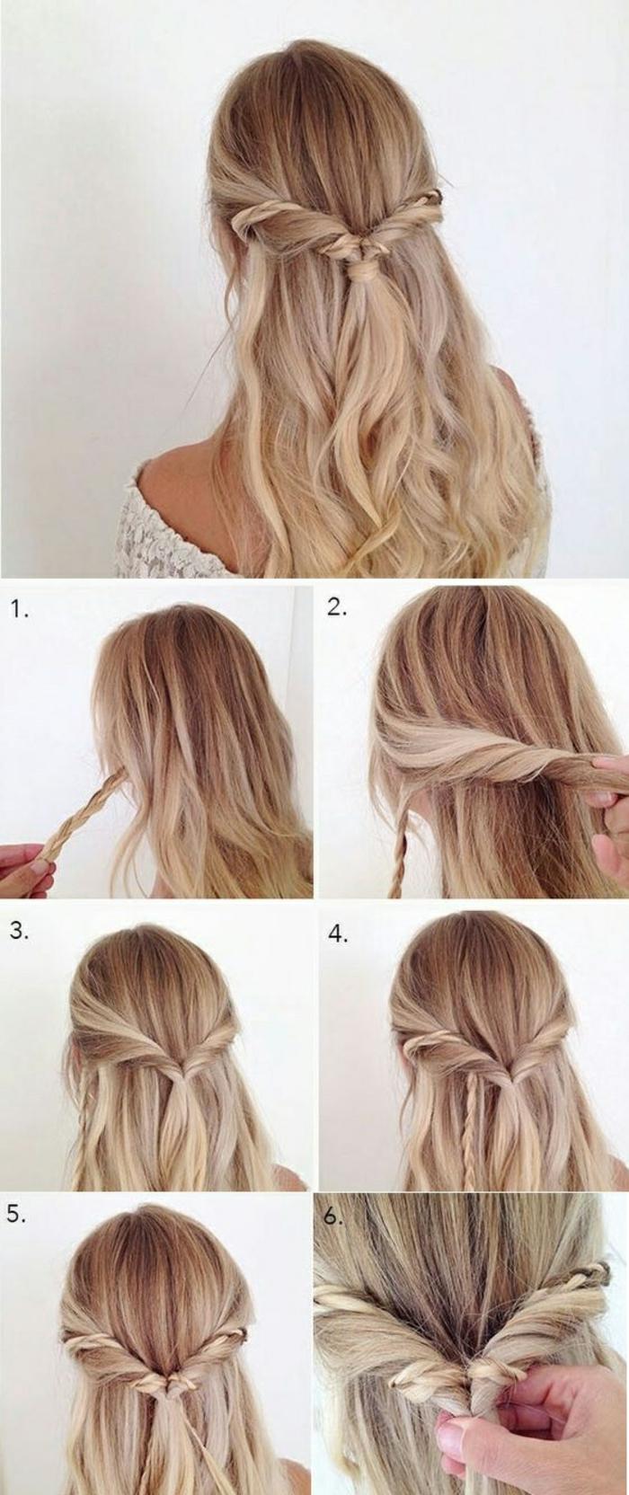 frau mit blonden haaren und schöner flechtfrisur