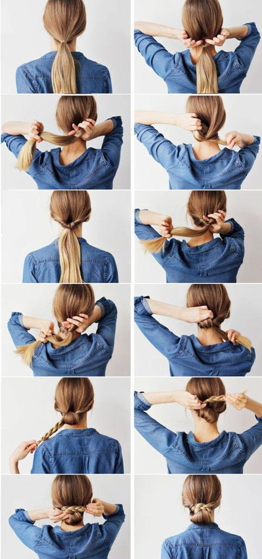 blaues hemd, pferdeschwanz, geflochtene hochsteckfrisur, blonde haare