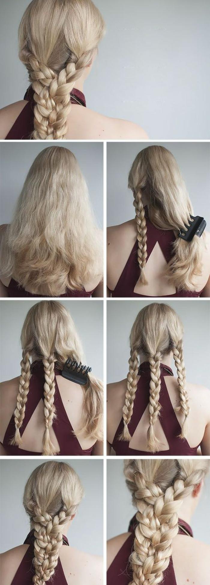 dunkelrotes kleid, mittellange, blonde haare, flechfrisur