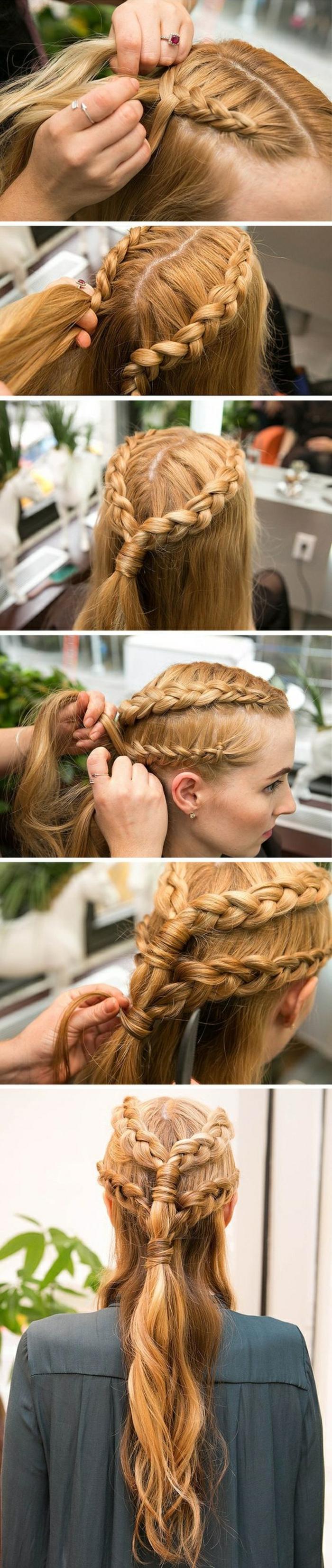 haare flechten - lange, blonde haare, alltagsfrisur mit zöpfen