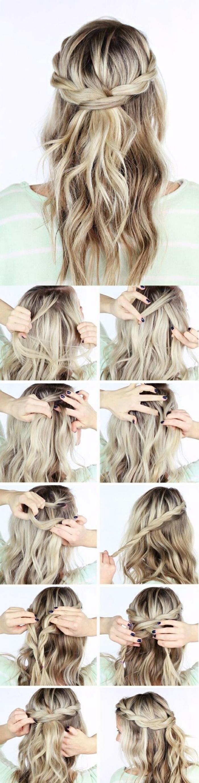 einfache frisuren - mittellange, blonde, lockige haare, tolle flechtfrisur