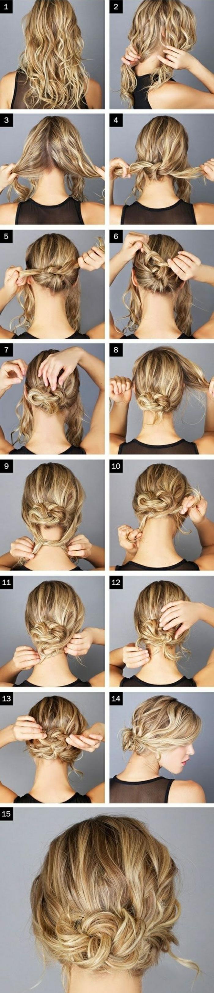 dame mit blonden, lockigen haaren und hochsteckfrisur