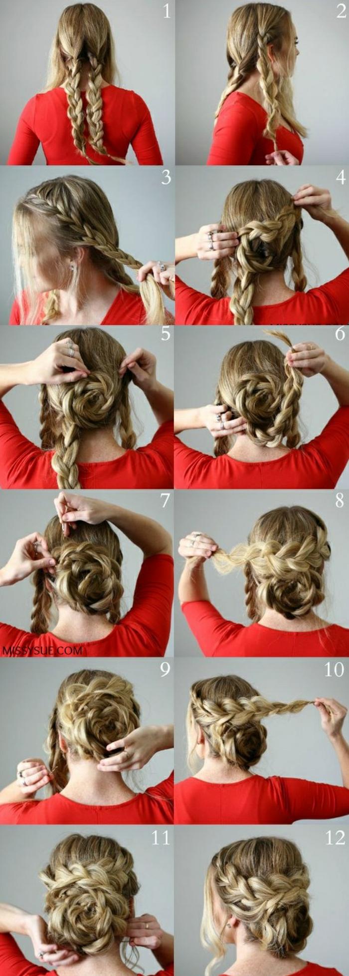 frau mit blonden haaren, roter bluse und hübscher flechtfrisur