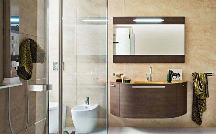 orange Bäder Fliesen Ideen Spiegel mit Holzrahmen Duschkabine mit Glaswände