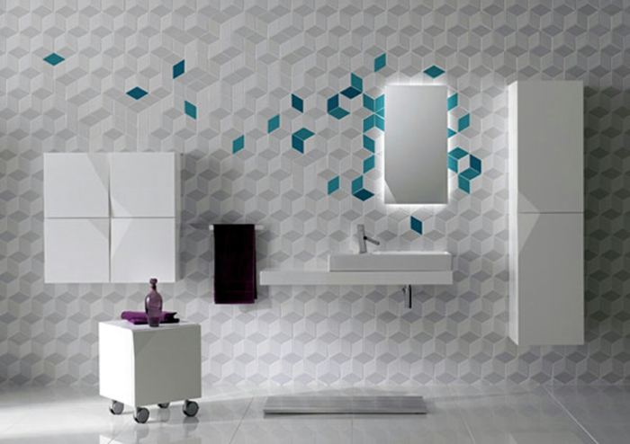 geometrisches Muster von Fliesen in blauer Farbe - Fliesen Badezimmer Beispiele