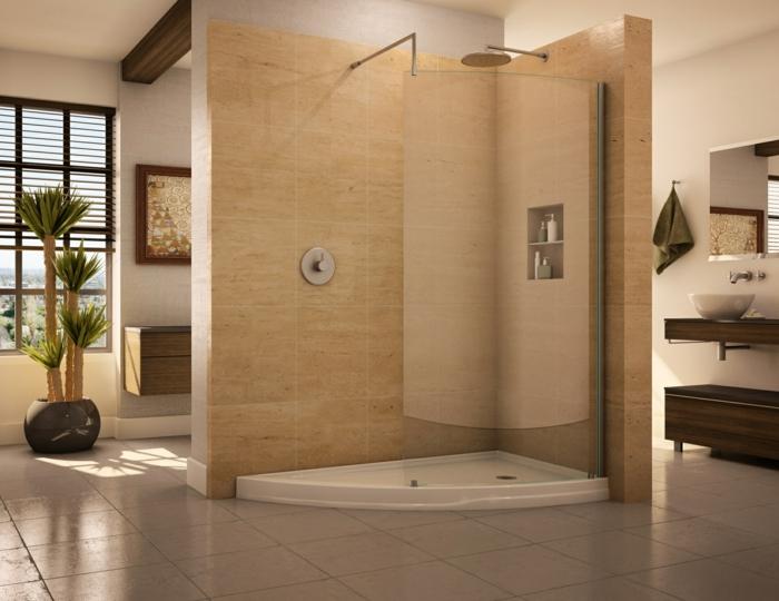 gerundete Duschkabine in großem Badezimmer - Bad Fliesen Beispiele