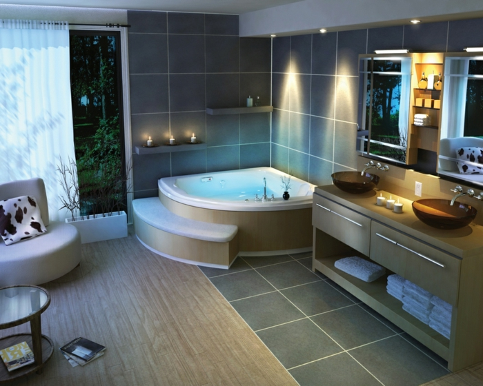 ein Wellness Badezimmer mit Whirlpool graue Kacheln - Bäder Fliesen Ideen