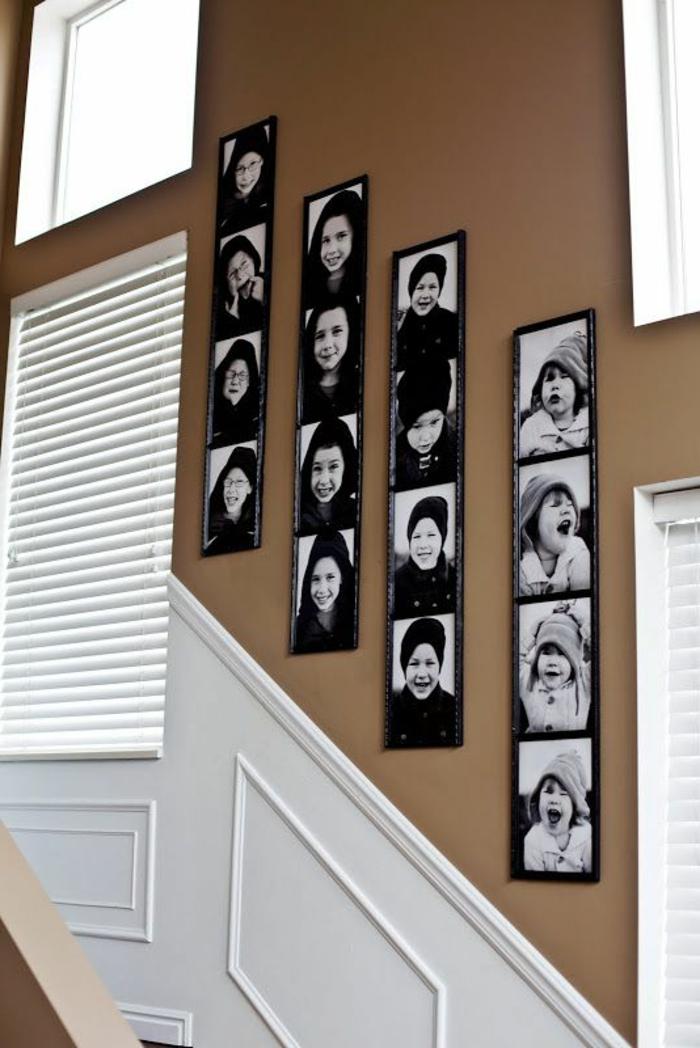 die Wand im Flur mit schwarz-weißen Bildern gestalten