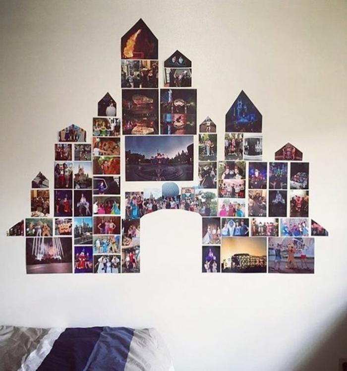 Fotocollage aus Fotos in verschiedener Form und Größe in der Form eines Schlosses
