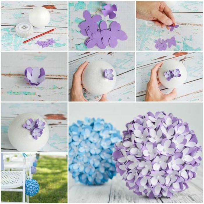 bastelideen frühling, ball aus styropor mit lila blumen aus papier