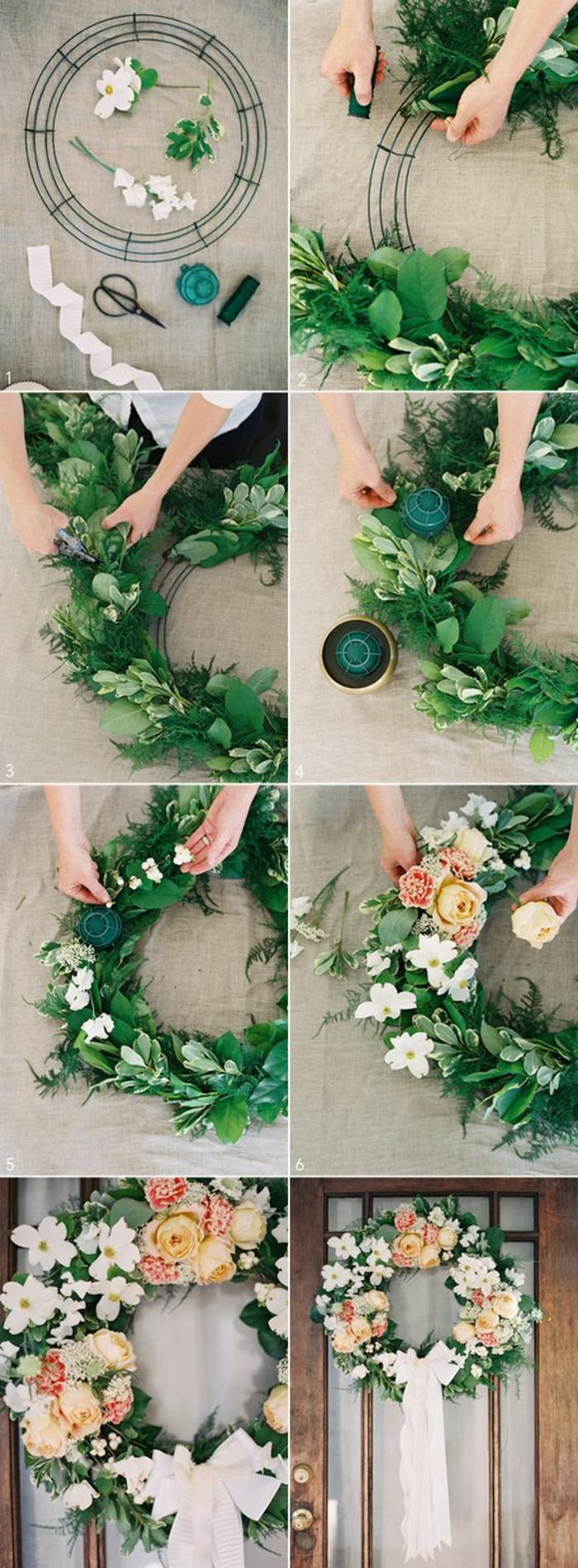 frühlingsdekoration selber machen, kranz mit grünen zweigen und blumen dekorieren