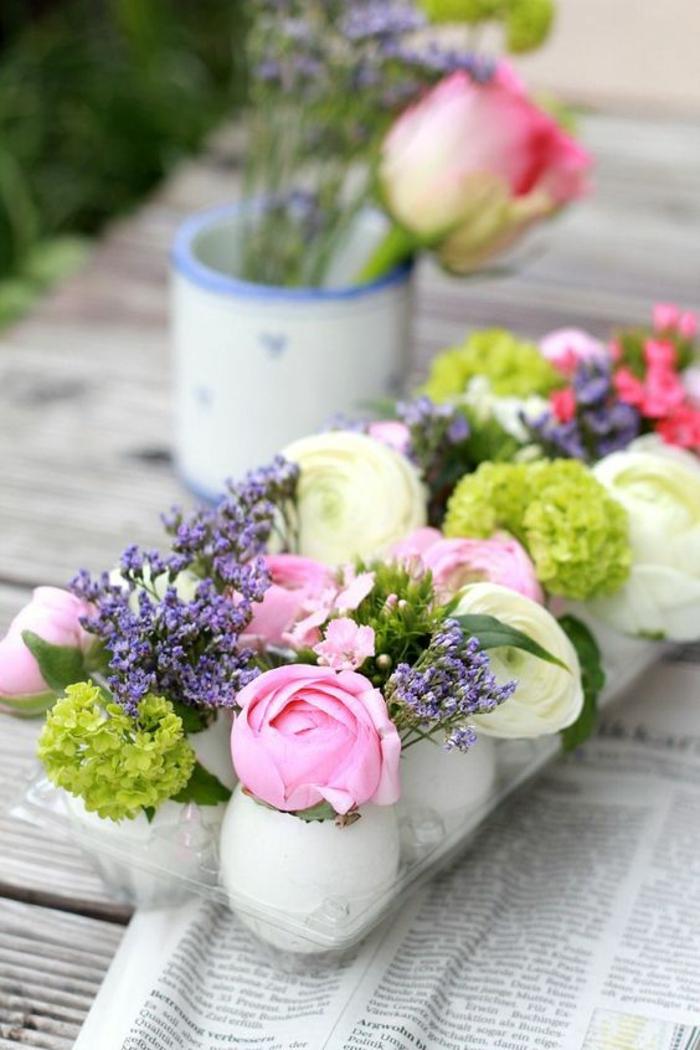 bastelideen frühling, vasen aus eierschalen, blumen, tischdeko