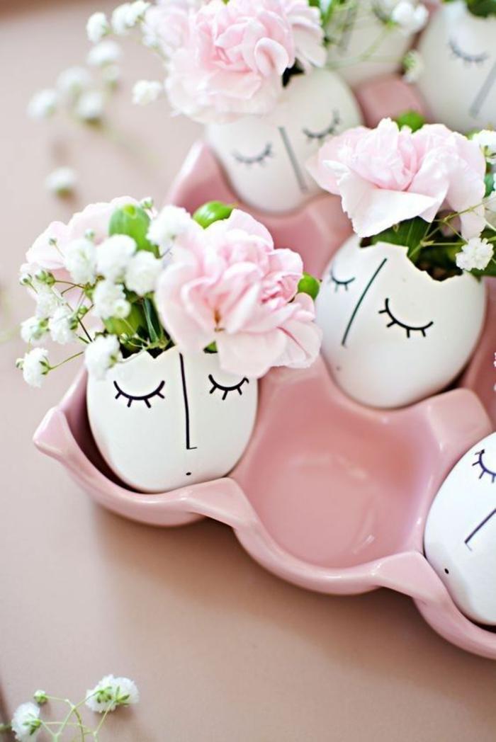 eierschalen alsvasen benutzen, blumen, tischdeko, osterndeko